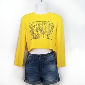 Tops - Cactus long sleeved cropped graphic tee